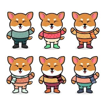 Impostare il simpatico cane shiba inu con illustrazione del concetto autunnale