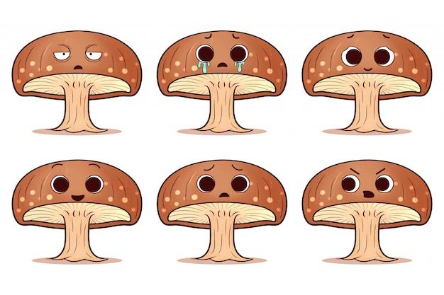 Set di simpatici funghi shitake
