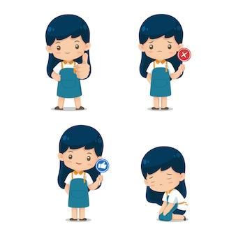 Insieme della mascotte sveglia del carattere di assistante del negozio nell'illustrazione dell'uniforme del grembiule