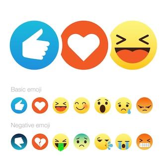 Set di simpatici emoticon smiley emoji design piatto illustrazione