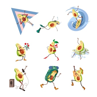 Set di simpatico personaggio sorridente di avocado