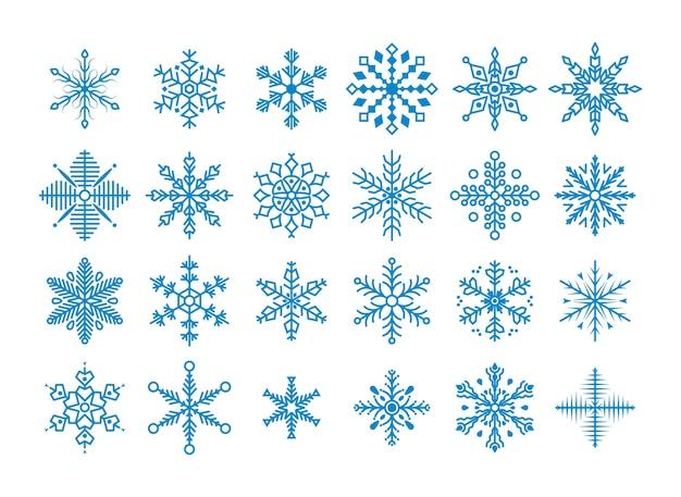 Set di simpatici fiocchi di neve. collezione di fiocchi di neve