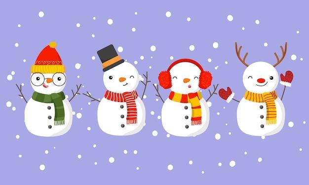Set di pupazzo di neve carino isolato su viola
