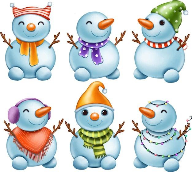 Set di simpatici pupazzi di neve con decorazioni
