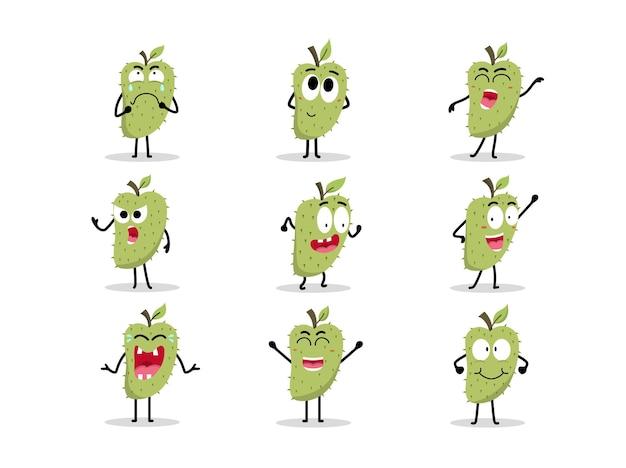 Set di simpatici personaggi di soursop in diverse pose