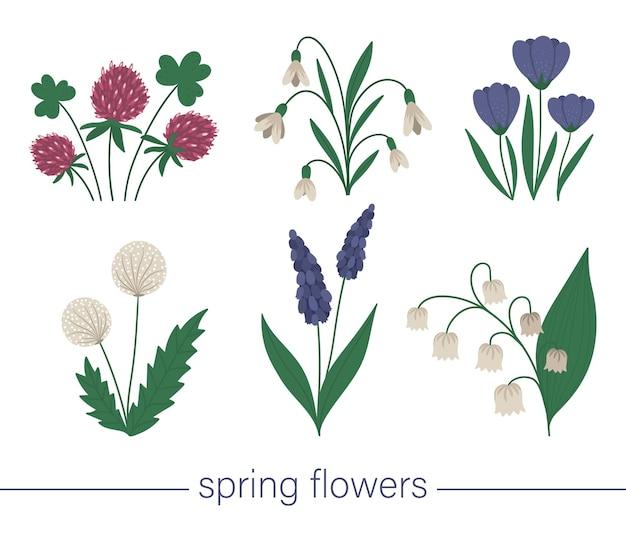 Set di simpatici fiori primaverili.