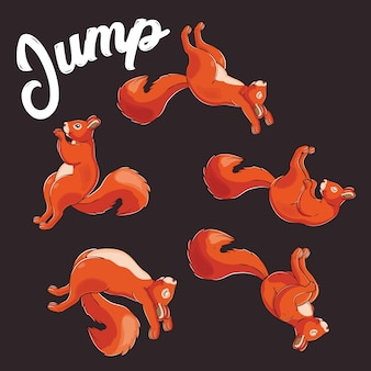 Serie di simpatici scoiattoli salta