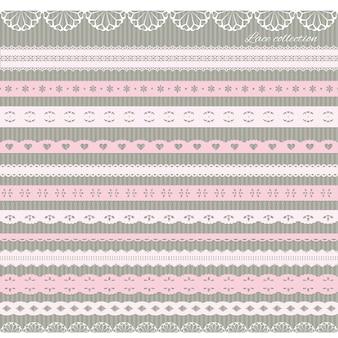 Set di simpatici merletti dritti in rosa pastello