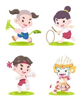 Set di ragazzi in stile carino facendo giochi tradizionali tailandesi