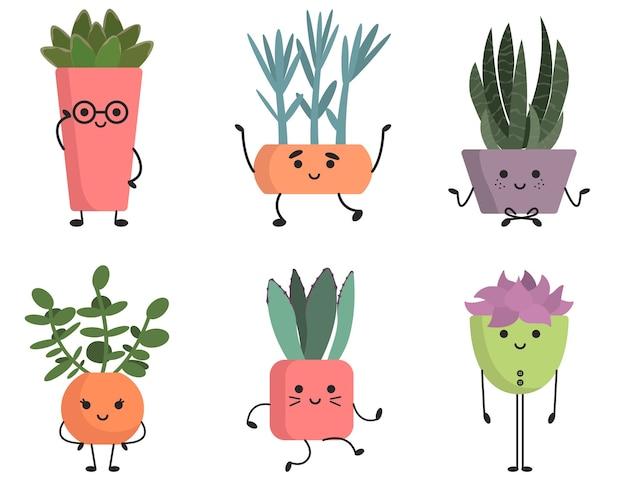 Set di graziose piante grasse. personaggi divertenti in stile cartone animato.