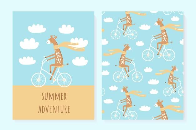 Un set di simpatici biglietti estivi. giraffa. manifesti estivi.