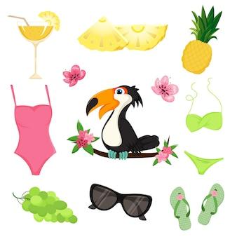 Set di elementi estivi carini. stile cartone animato. ananas, cocktail, costume da bagno, infradito, tucano, uva, occhiali da sole, fiori.