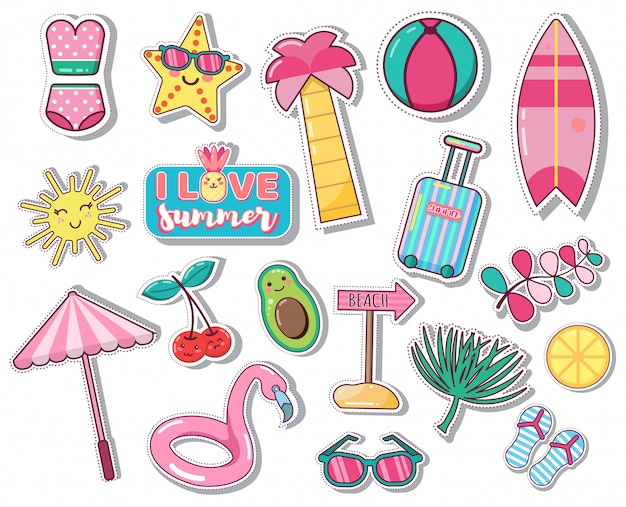 Set di icone estive carine: foglie di palma, frutti, fenicotteri. luminoso poster estivo