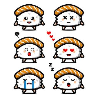 Impostare simpatico personaggio dei cartoni animati di sushi con espressione