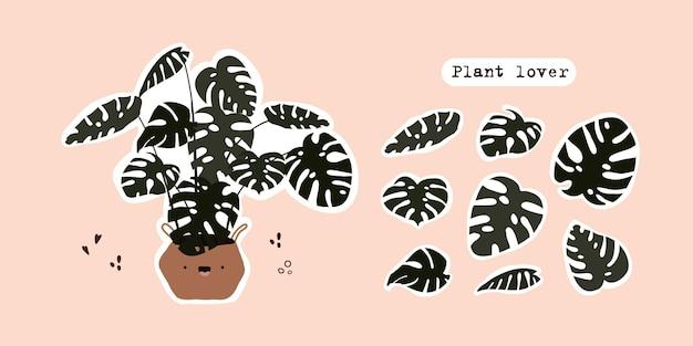Insieme della pianta di monstera tropicale carina in vaso foglie di monstera