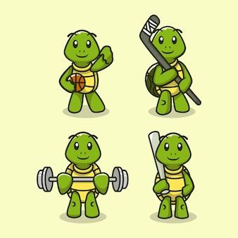 Insieme della tartaruga sveglia nel modello di vettore dell'illustrazione di progettazione dell'attrezzatura sportiva
