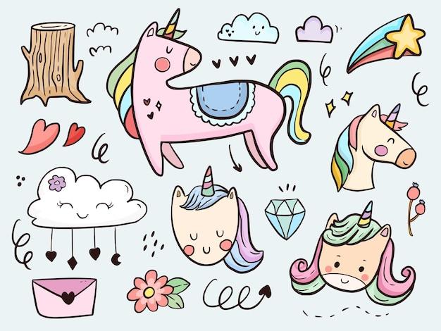 Set di simpatico cartone animato di doodle di unicorno per bambini da colorare e stampare