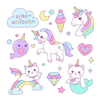 Set di simpatici elementi di unicorno illustrazione