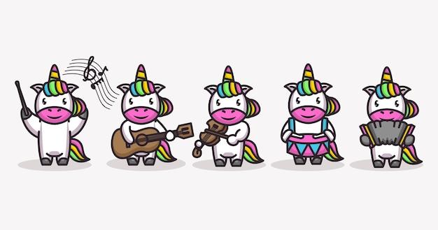Set di unicorno carino in tema musicale