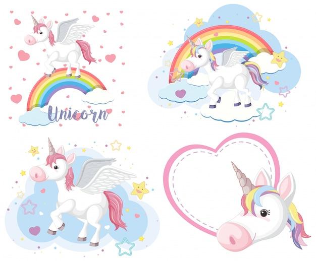 Set di unicorno carino o pegasus in color pastello isoalted