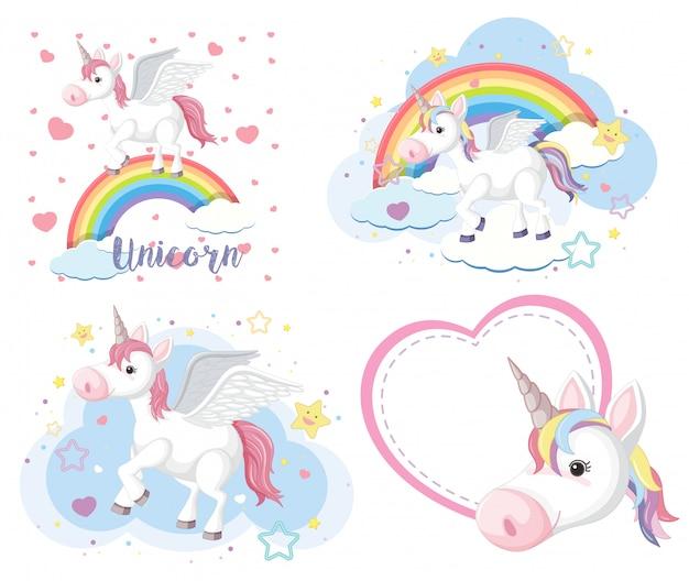 Set di unicorno carino o pegaso in colori pastello isoalted