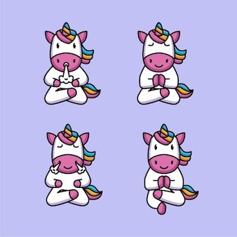 Set di unicorno carino in posa yoga