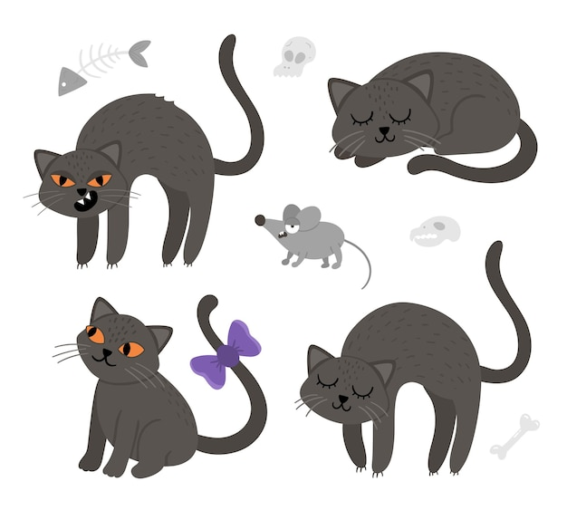 Set di topi e gatti neri vettoriali carini. collezione di icone di personaggi di halloween. divertente illustrazione di tutti i santi autunnali con animali spaventosi, scull, ossa. disegno del segno del partito di samhain per i bambini.