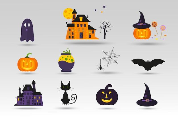 Set di simpatiche icone vettoriali di halloween di zucca, castello, gatto, fantasma, caramelle, pipistrello, cappello. elementi, oggetti per biglietti di auguri, inviti e feste.