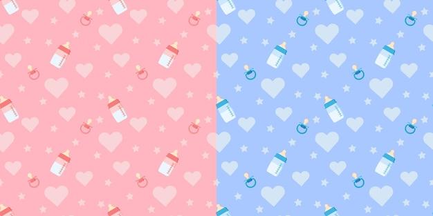 Set di simpatici modelli vettoriali senza cuciture con biberon, ciuccio, cuore su sfondo blu e rosa