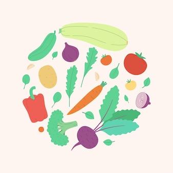 Set di verdure vettoriali carine in un'illustrazione vettoriale moderna in stile disegnato a mano