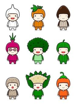 Insieme dell'illustrazione di vettore dell'icona del fumetto della mascotte vegetale carina. disegno isolato su bianco. stile cartone animato piatto.