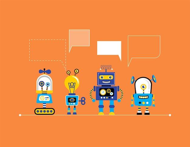 Set di simpatici robot vintage, banner con collezione di giocattoli robot
