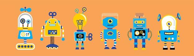 Set di simpatici robot vintage, con collezione di giocattoli robot