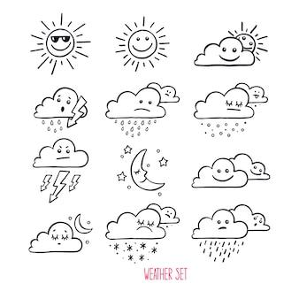 Set di icone meteo carino. illustrazione disegnata a mano