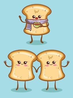 Set di pane bianco carino con espressione diversa. personaggio dei cartoni animati e illustrazione.