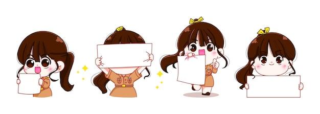 Set di insegnante donna carina in uniforme governativa che tiene un cartellone bianco isolato personaggio cartone animato illustrazione