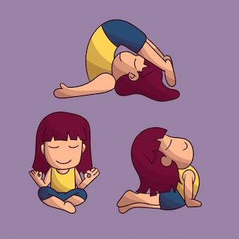 Set di simpatici personaggi yoga