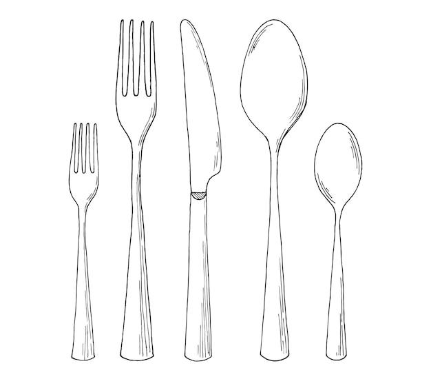 Set di posate. illustrazione nello stile di abbozzo