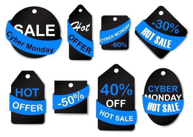 Set di etichette e cartellini per la vendita del cyber lunedì nei colori nero e blu