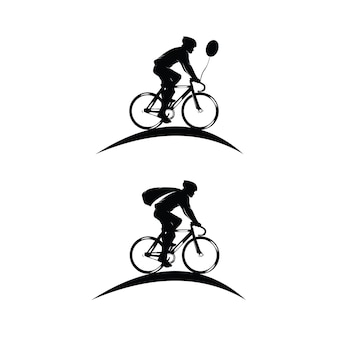 Set di sagome di logo ciclista