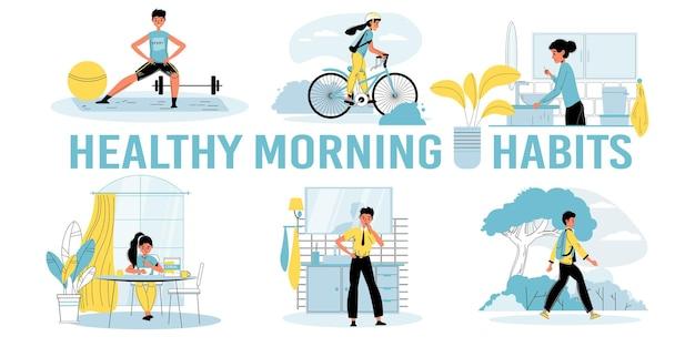 Set di abitudini mattutine sane quotidiane per bambini illustrazioni vettoriali