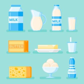 Set di icona di stile piano di prodotti lattiero-caseari. latte, formaggio, burro, yogurt e gelato.