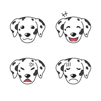 Set di facce di cane dalmata che mostrano emozioni diverse