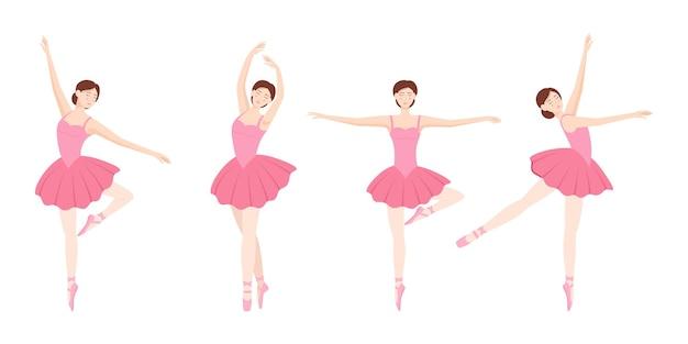 Set di ballerine eleganti che ballano su sfondo bianco, illustrazione vettoriale