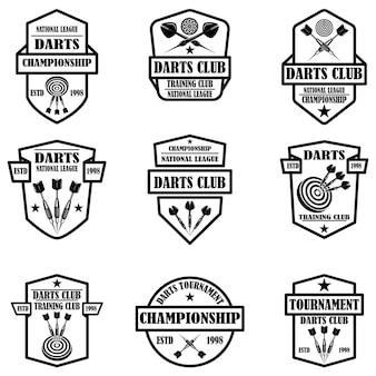 Set di modelli di etichette per club di freccette. elemento di design per logo, etichetta, segno, poster, t-shirt.