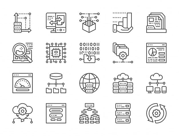 Set di icone di linea di analisi dei dati