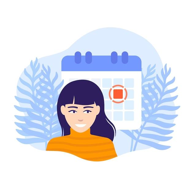 Imposta un'illustrazione vettoriale di scadenza con una donna