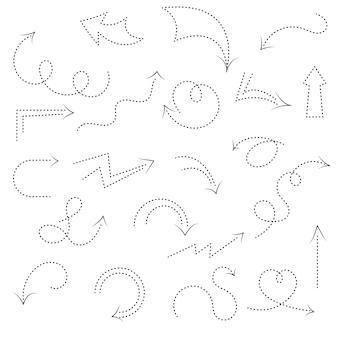 Una serie di frecce decorative su e giù, circolari e dritte con linea tratteggiata. collezione di icone su sfondo bianco. stile scarabocchio. contorno nero.