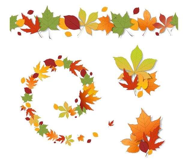 Insieme dei fogli di autunno decorativi su priorità bassa bianca