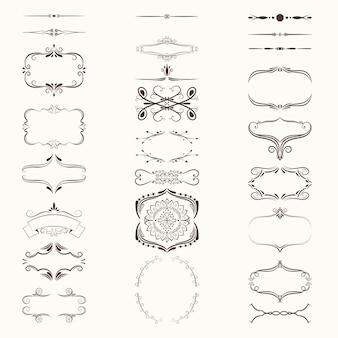 Set di bordi e cornici di elementi decorativi per la decorazione di linee vecchio stile
